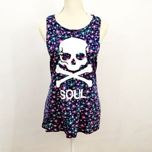 SoulCycle Floral Skull Tank Size XL